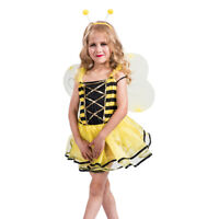 Kids Girls Yellow Bumble Bee Dress Wings Halloween Costume Cosplay Party Outfits
