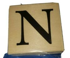Letter N Rubber Stamp 2 inch New Unused Wood Mounted Stamp Alphabet