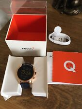 FOSSIL Smartwatch Q Explorist - FTW4002 Gold Blue Leather Mens Women's