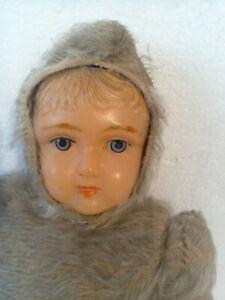 """Antique German 14"""" Celluloid Face Mohair Stuffed Body Teddy Bear Snow Baby Doll"""