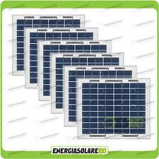 Stock 6 Pannelli Solari Fotovoltaici 5W 12V multiuso Pmax 30W
