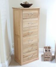 Mobel Solid Oak Wooden Furniture Tallboy 6 Chest of Drawers & Felt Pads