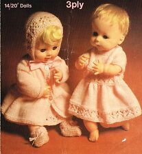 """Dolls clothes knitting pattern.14""""- 20"""" doll. .Laminated copy"""