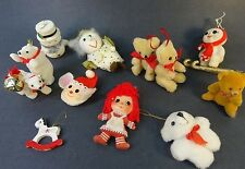 Vintage Lot Christmas Ornaments Bears Raggedy Ann Flocked