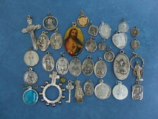 Lot of 33 Medals Catholic Religious vintage Crucifix Rosary Metal pocket statue