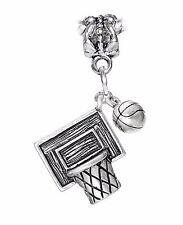 Basketball Net Ball Team Sports 3D NBA Dangle Charm for European Bead Bracelets