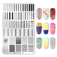 NICOLE DIARY Nail Art Stamp Plates Geometric Rectangle Nail Image Stencils L04