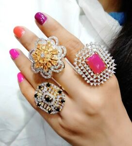 Designer Multicolored Stone Studded Set Of Rings Engagement Party Fashion Jewel