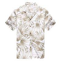 Made in Hawaii Men Hawaiian Aloha Shirt Luau Cruise Party Bamboo Leaf White Grey