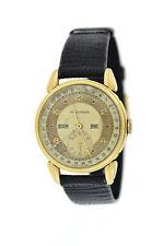 Movado Vintage Calendar Triple Date Ruby Dial 14K Yellow Gold Watch