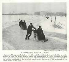 1917 Ski Chair Roller Chair Outing On Frozen River In Russia