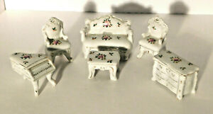 Vtg. Porcelain Doll House Furniture Chairs Sofa Table Chest Piano Japan Lot of 6