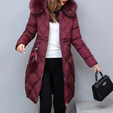 Winter Women long Down Cotton Parka Fur Collar Hooded Coat Quilted Jacket WARM