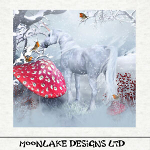 Unicorn, sparkling winter  - Fabric Craft Panels in 100% Cotton or Polyester