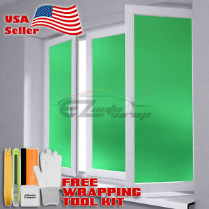 """48""""x84"""" Green Frosted Film Glass Home Bathroom Window Security Privacy Sticker"""