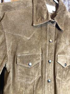 Margaret Godfrey Golden Brown Suede Western Style Snap Up Shirt Jacket Size S