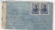 Portugal 1945 Postal History Censored Airmail Cover To Yorkshire J481
