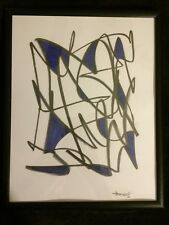 Original abstract Signed Akop Framed Painting Markers Graphite Pencil Wall Art