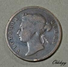 Straits Settlements 1 Cent Coin~1874 (H) Victoria~KM#9~Copper 9.3g~VFine~#585