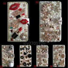 Custom made Bling Luxury Diamonds Crystal Leather wallet flip case cover T9