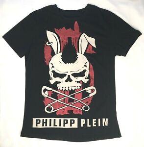 "Philipp Plein T-Shirt ""Extreme"" Black & Red Rhinestones XL (SEE MEASUREMENTS)"