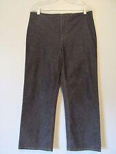DKNY Jeans Black Denim Flat Front No Waist Band Straight Leg Cropped Pants SZ:10