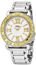 Fendi Selleria Stainless Steel Gold Bezel Women's Swiss Watch F8001345H0.BR86