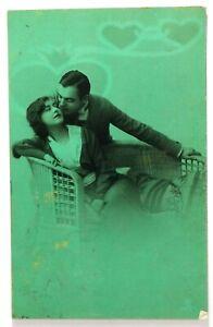 Teal Tinted 1913 Original RPPC Romantic Edwardian Couple Studio Photo Card 1A14