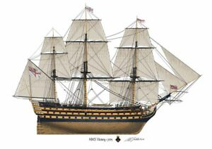 HMS Victory British warship Nelson Profile Artwork A5 / A4 Print ship signed
