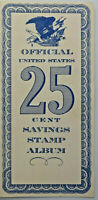 Official United States 25 cent savings stamp album wth 50 star stamps 1961
