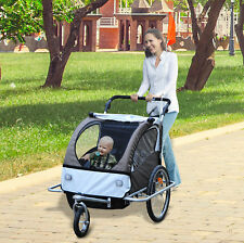 Kinderanhänger 2in1 Fahrradanhänger Jogger Drehbar Cream/Kaffeebraun Beleuchtung