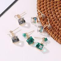 Double Crystal Cube Earring Women's Fashion Earrings Stud Colorful Girls Jewelry
