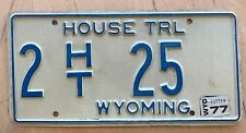 "1976 1977 WYOMING HOUSE TRAILER LICENSE PLATE "" 2 HT 25 "" WY 77 LOW NUMBER"