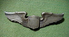 WWII US ARMY AIR CORPS Sterling Silver Pin Back 3 inch  PILOT WINGS  BADGE
