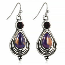 Vintage Boho Copper Purple Turquoise Hook Earrings 925 Silver Dangle Earring