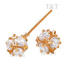T&T Clear CZ Rose Gold 6mm Ball Stud Earrings (ED47)