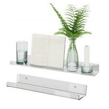 Acrylic Wall Floating Ledge Shelf Home Office Book Storage Rack Photo Display