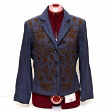 Coldwater Creek Womens Blazer Jacket Small Blue Brown Floral Beaded Button Front