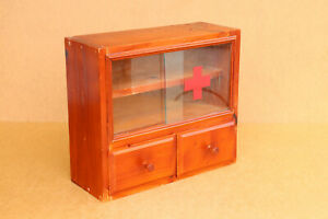 Old Vintage Wooden Medicine Medical Cupboard Chest Cabinet First Aid Box 1980's