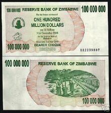 ZIMBABWE 100,000,000 DOLLARS P58 2008 100 MILLION UNC CURRENCY MONEY BANK NOTE