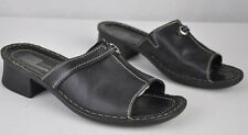 7.5M EUR38 Josef Seibel Black Leather Open Toe Slide Mule Sandal Contrast Stitch