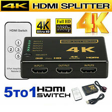 5 Port HDMI HDTV Auto Switch Switcher Selector Splitter Hub iR Remote 4K 5in1out