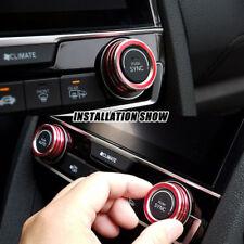 2×Red Aluminum AC Climate Control Ring Knob Trim Cover For Honda Civic 2016-2018