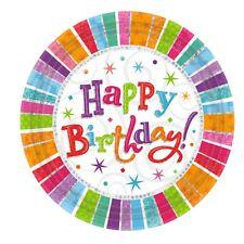 8 pièces Joyeux Anniversaire Radiant assiettes en papier coloré pailleté Fête