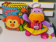 LAMAZE LEARNING BABY CLOTH BOOK AND HIPPOPOTAMUS SOFT TOY! HIPPO 16CM SEATED!