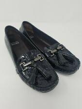 Stuart Weitzman Womens Black Croc Leather Loafers With Tassel Size 8.5M