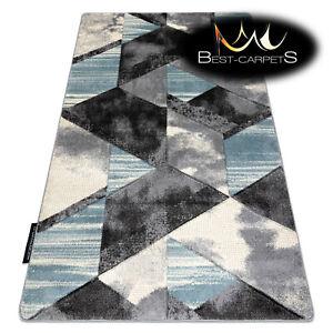 MODERN Amazing New design RUG 'ALTER WET' geometric trapeze BLUE Best-Carpets