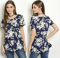 Keyhole Floral Print Peplum Round Neck Short Sleeve Casual chic Top Blouse Shirt