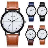 Men Business Fashion Retro Leather Band Analog Quartz Casual Wrist Watch Watches