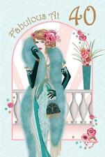 Art Deco 1920s Flapper Lady ~ Fabulous At 40  ~  40th Birthday Card